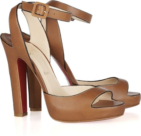 Christian Louboutin Viola 120 Leather Sandals in Brown (viola)