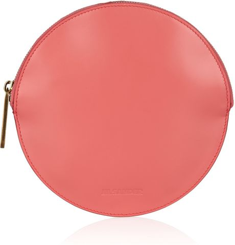 Jil Sander Circle Leather Clutch in Pink (coral) - Lyst
