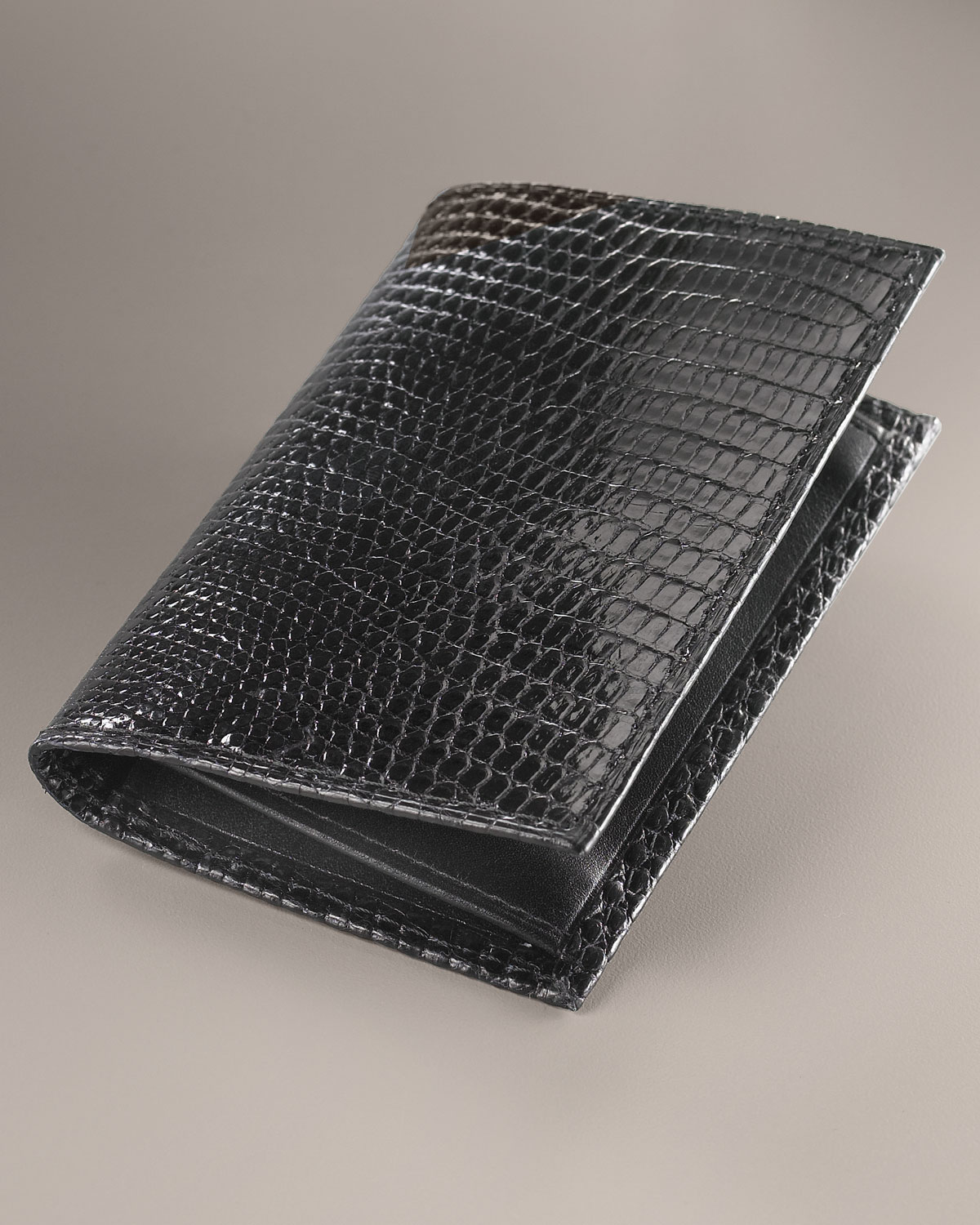 Lyst - Neiman Marcus Lizard Business Card Case in Black for Men