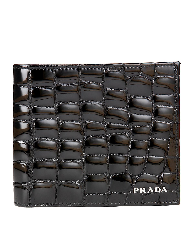 prada purse pink - Prada Croc-embossed Wallet in Black for Men (nero)   Lyst
