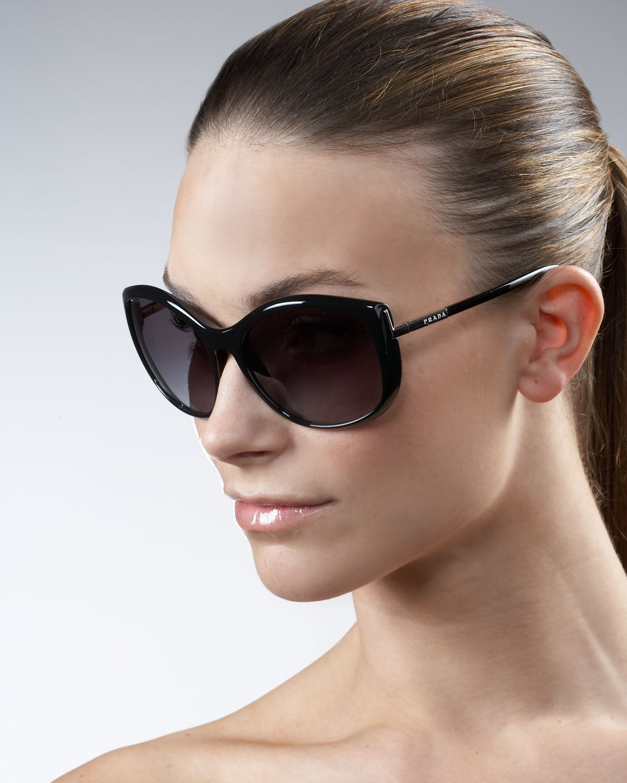 Lyst Prada Oversized Cat Eye Sunglasses In Brown