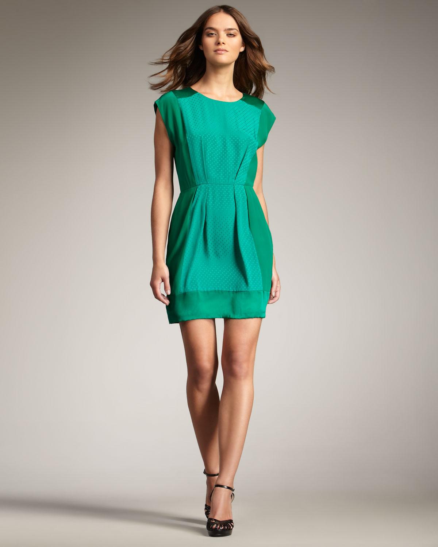 a35c24bd209 Rebecca Taylor Jacquard-panel Dress in Green - Lyst