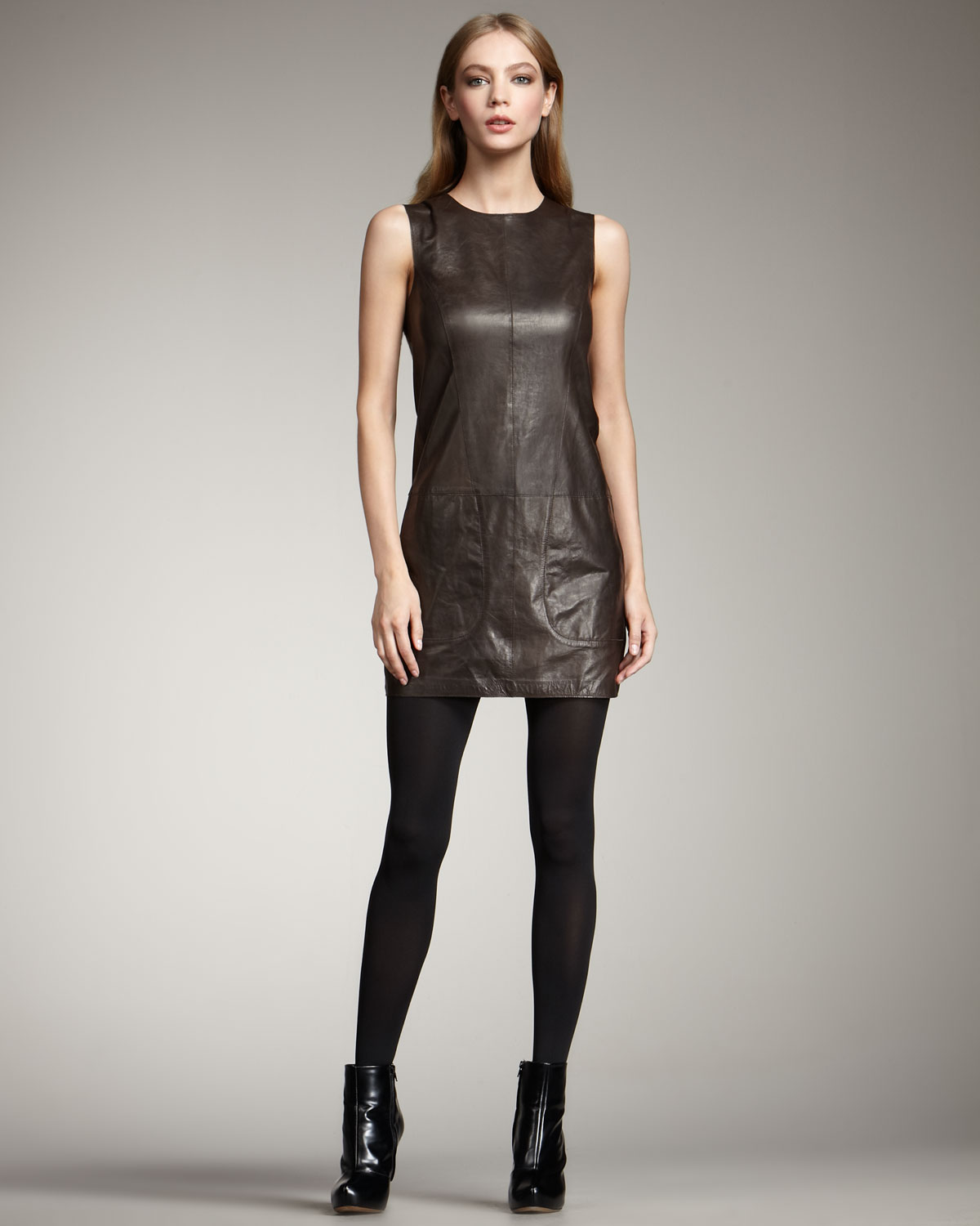 Vince Leather Tunic Dress In Black Lyst
