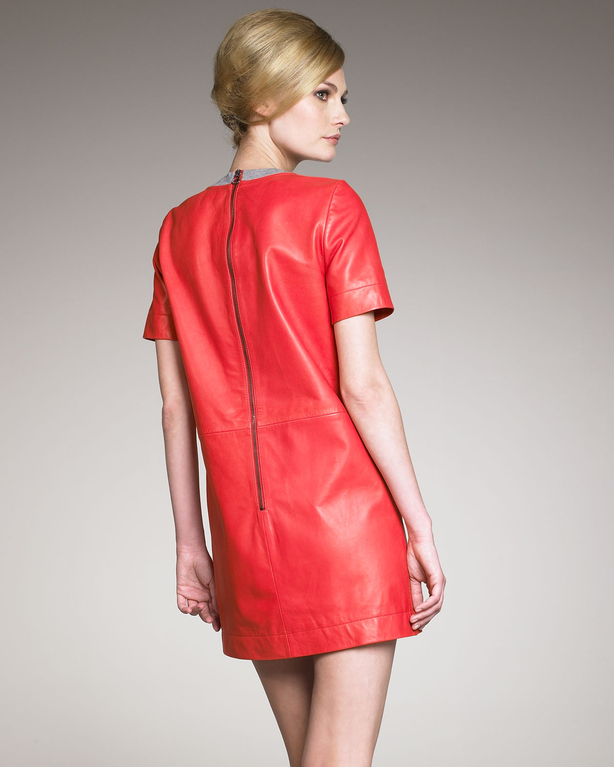 d4e029f0059 Cacharel Knit-trimmed Leather Shift Dress in Red - Lyst