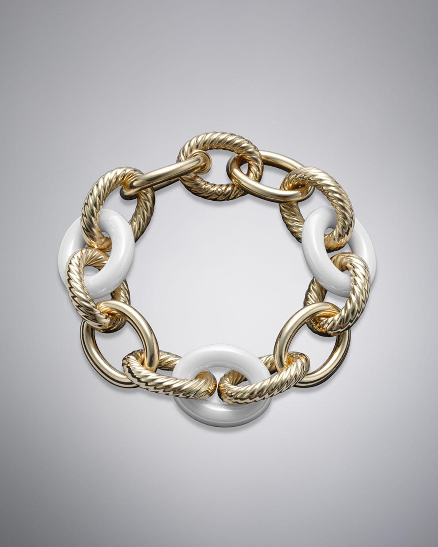 55f707116 Lyst - David Yurman X-large Oval Link Bracelet, White Ceramic in ...