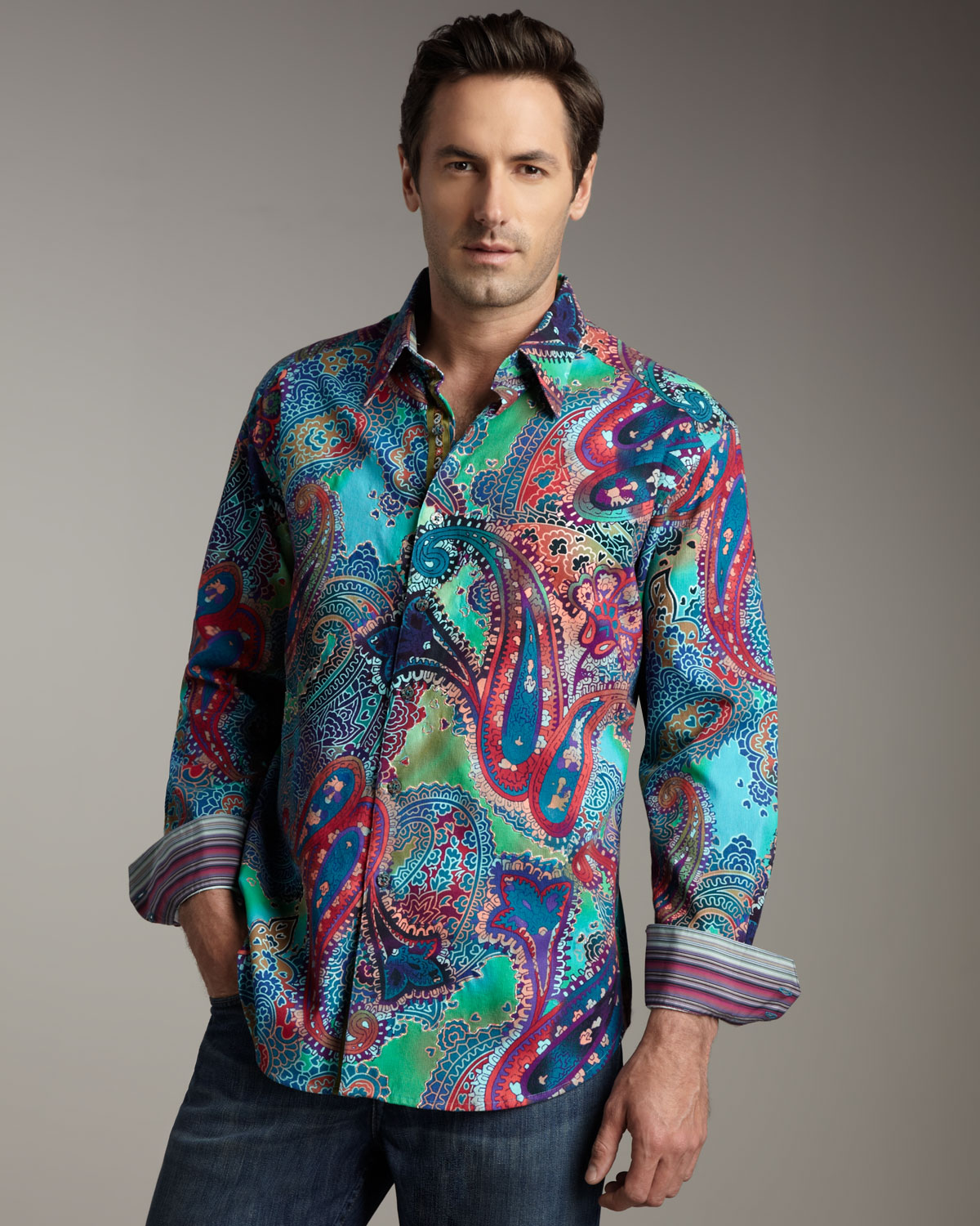 Robert graham cholla cactus printed long sleeve sport for Where are robert graham shirts made