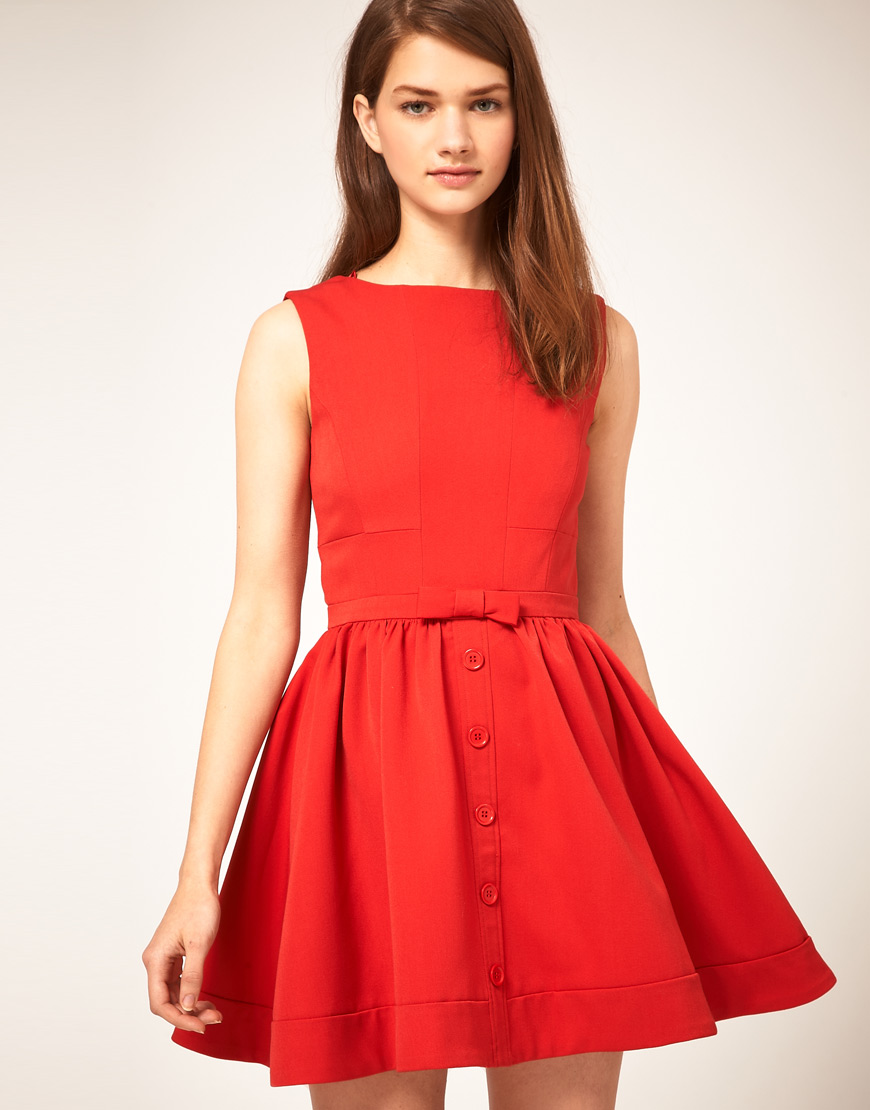 Lyst Asos Collection Asos Skater Dress With Bow Front In Red