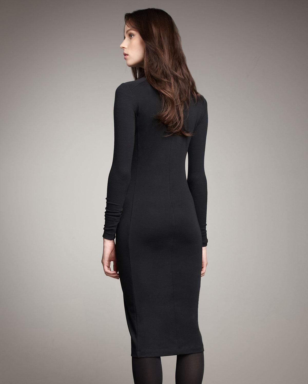 theory turtleneck dress in black  lyst