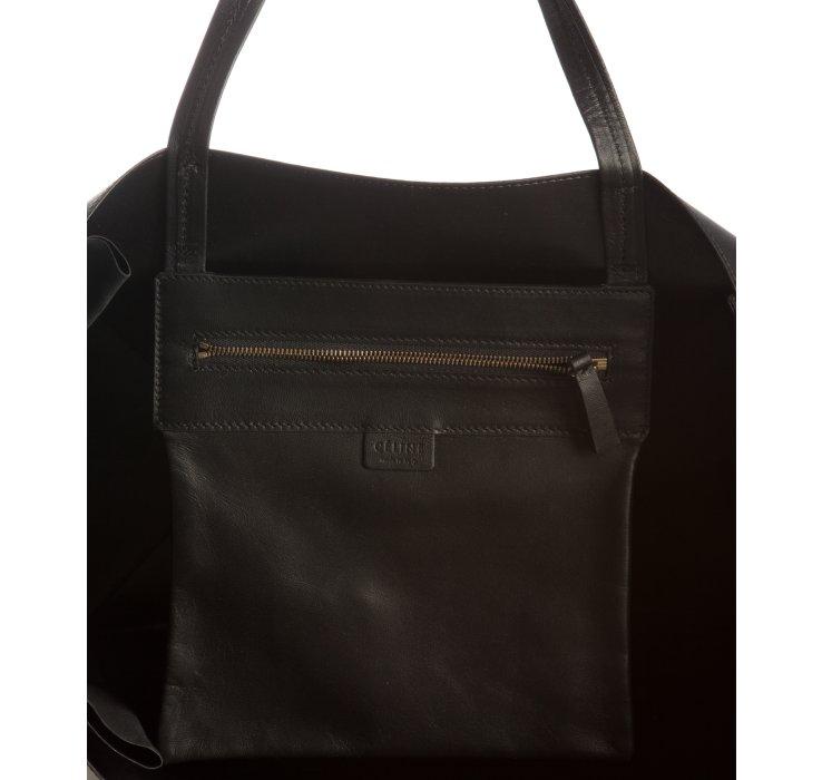 C¨¦line Black Lambskin Zipper Detail Tote in Black | Lyst