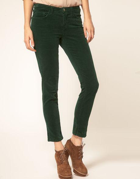 J Brand Mid Rise Skinny Ankle Cord Jeans In Peridot Green in Black (peridotgreen)
