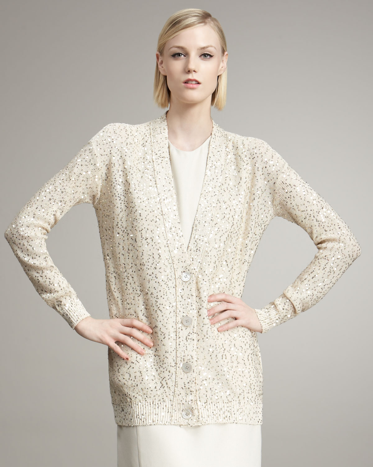 Stella mccartney Sequined Cardigan in White   Lyst