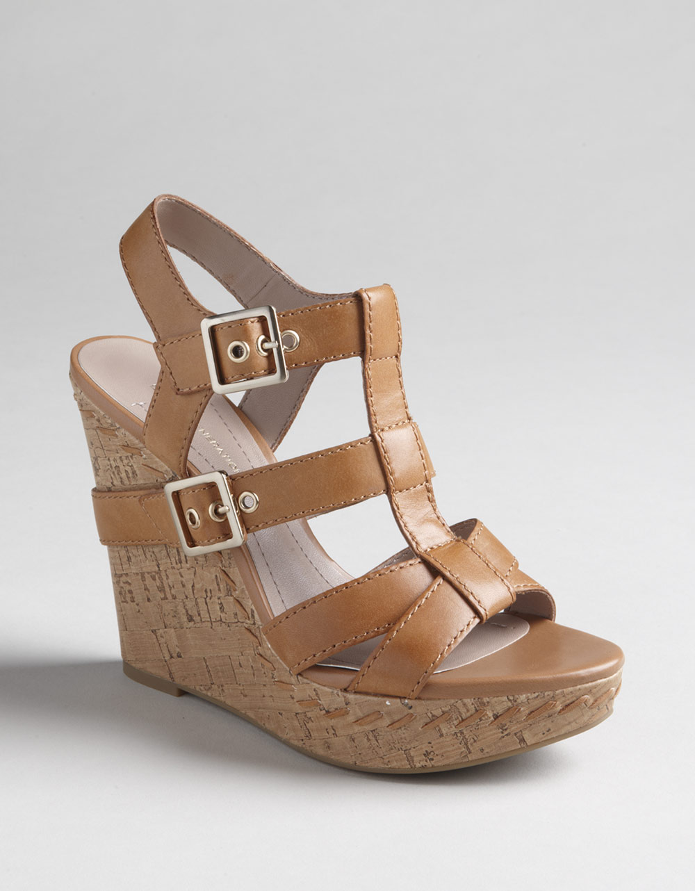 Bcbgeneration Imania Strappy Cork Wedge Sandals In Brown