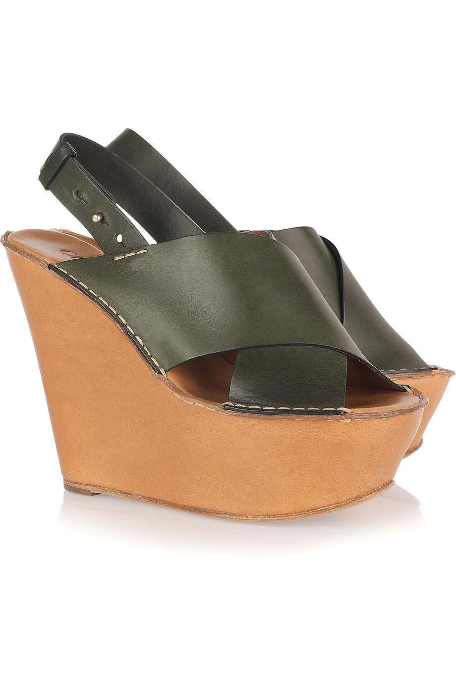 Lyst Green In Chloé Sandals Leather Vn0nwoym8 Wedge LGqSzpUMV