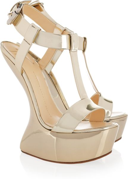 giuseppe zanotti metallic leather wedge sandals in gold lyst. Black Bedroom Furniture Sets. Home Design Ideas