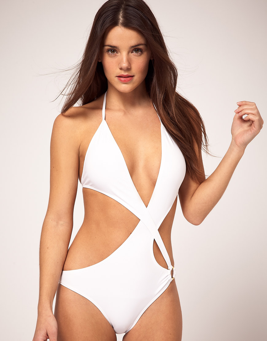 Lyst - Asos Asos Asymmetric Cut Out Swimsuit with Ring Detail in White