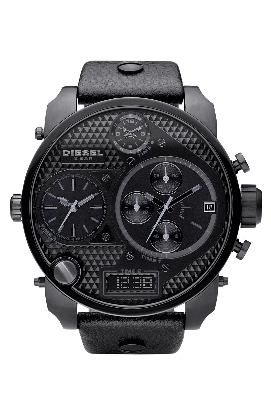 diesel time zone watch in black for men lyst