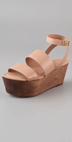Elizabeth And James Bax Flatform Wedge Sandals In Beige
