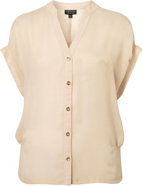 Topshop Side Tuck Chiffon Blouse in Beige (coffee) - Lyst
