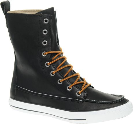 converse all leather classic boots in black for