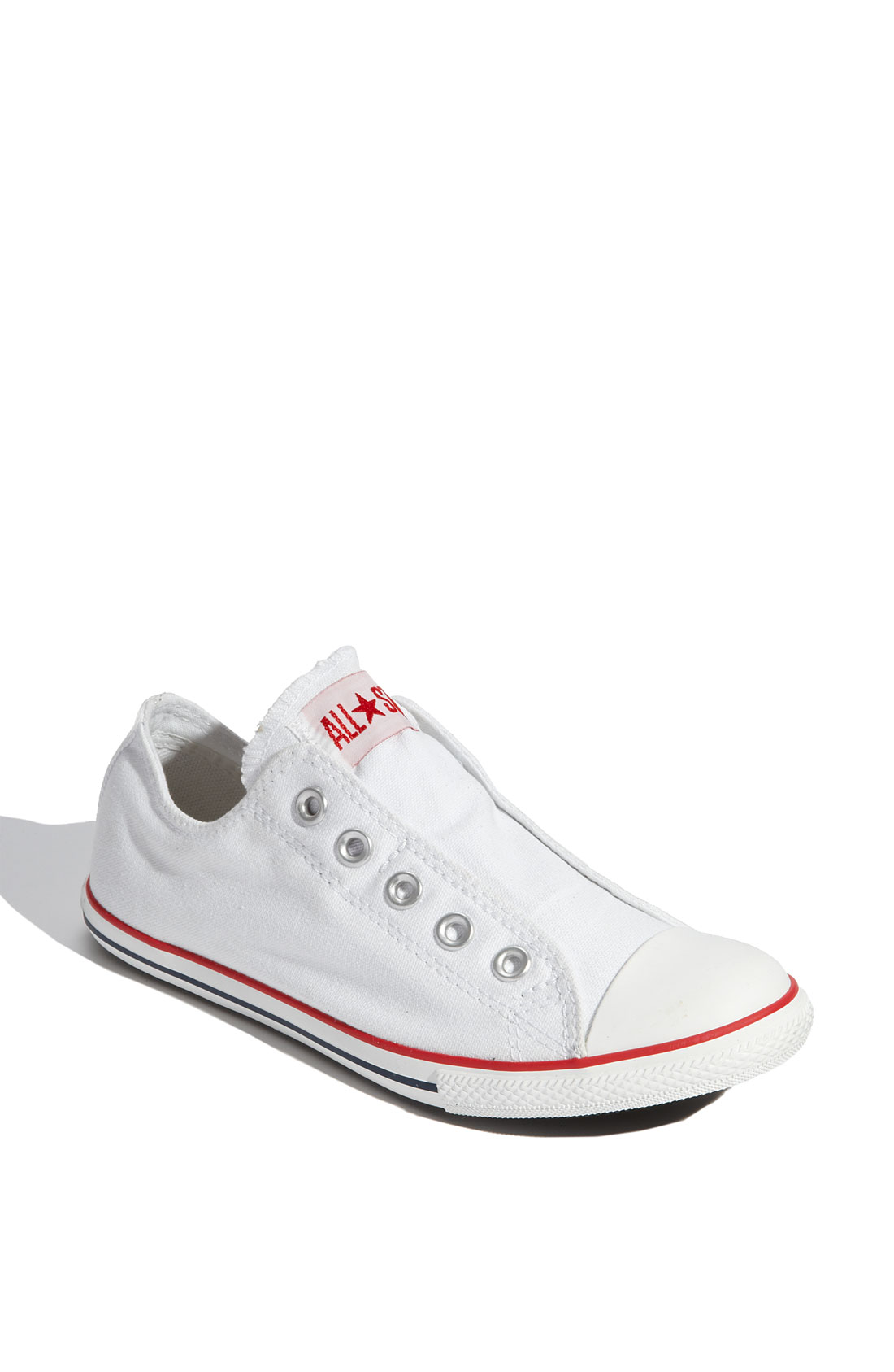 converse chuck taylor all star slim slip on in white lyst. Black Bedroom Furniture Sets. Home Design Ideas