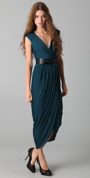 Doo. Ri Long V Neck Dress with Belt in Blue (teal)