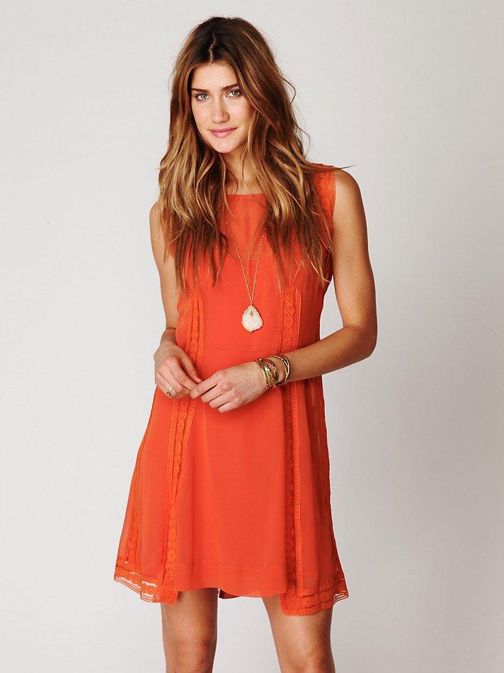 Free people Short Sleeved 20s Flapper Dress in Orange | Lyst