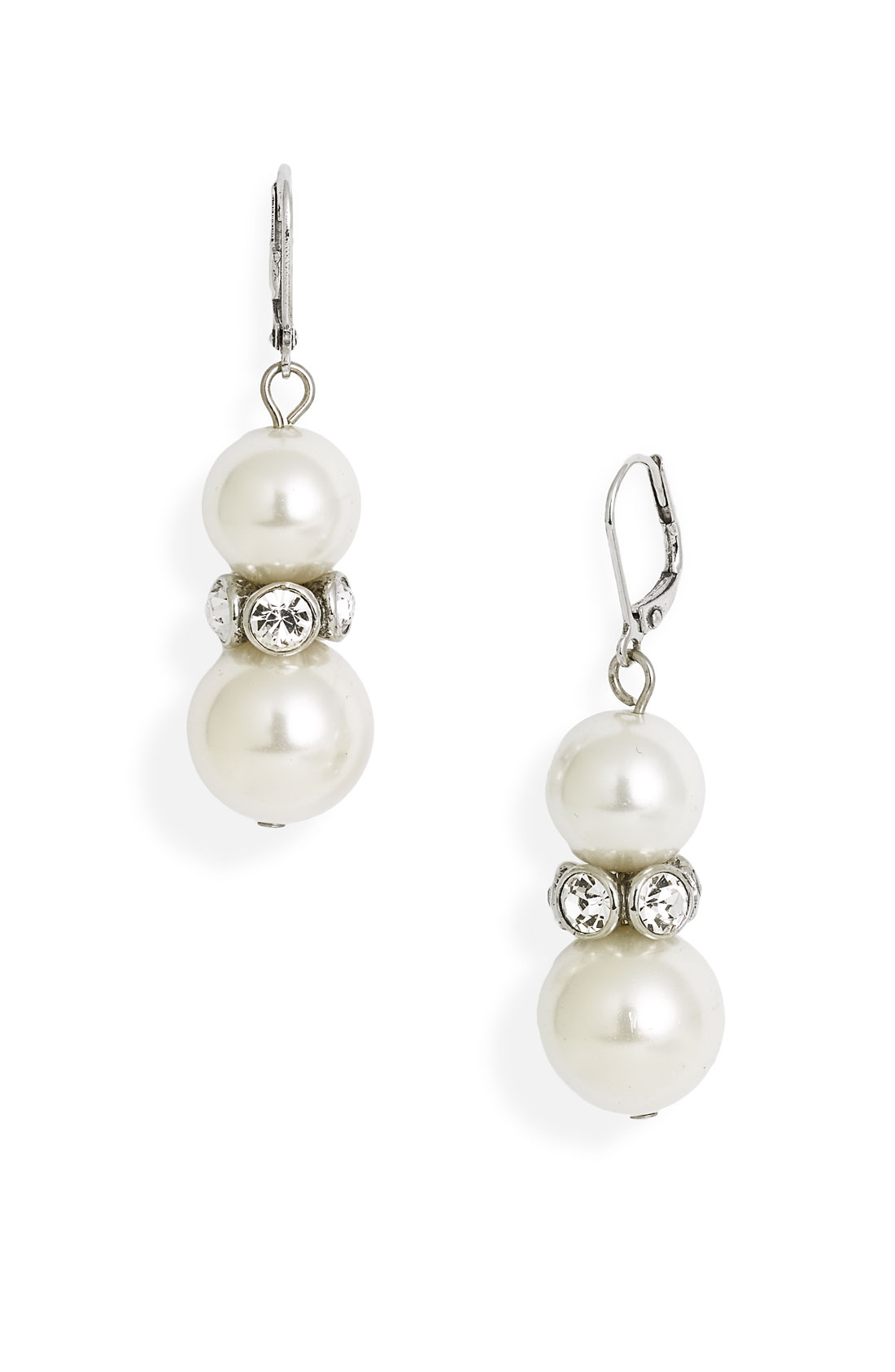givenchy aqua drop glass pearl earrings in white