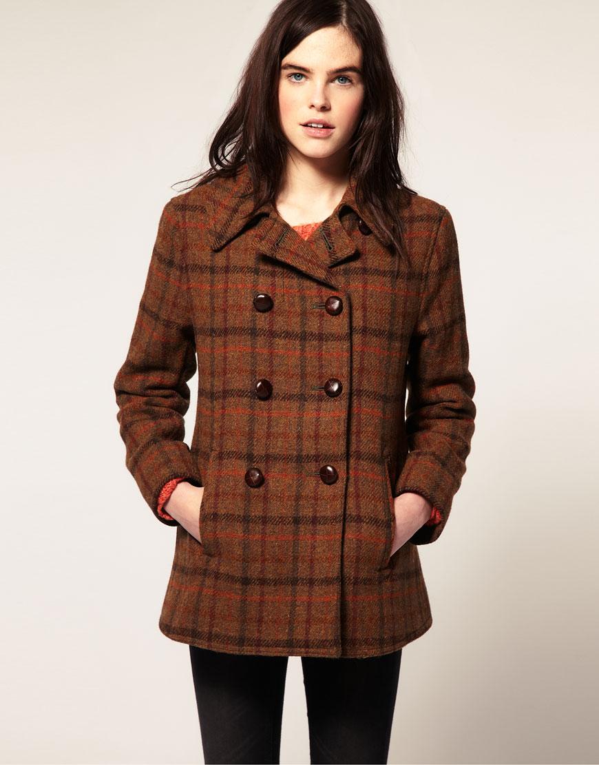 Gloverall Harris Tweed Reefer Coat in Brown (check) | Lyst