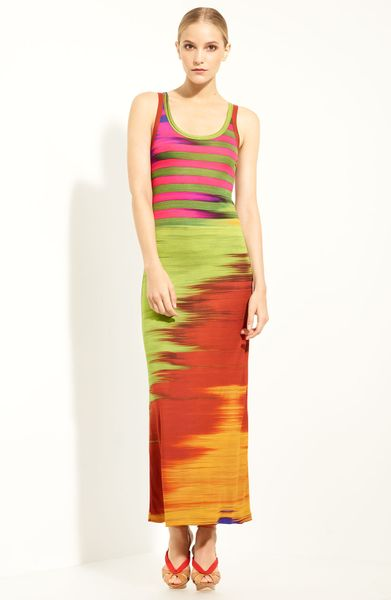 Jean Paul Gaultier Print Jersey Tank Dress in Orange (fuchsia)