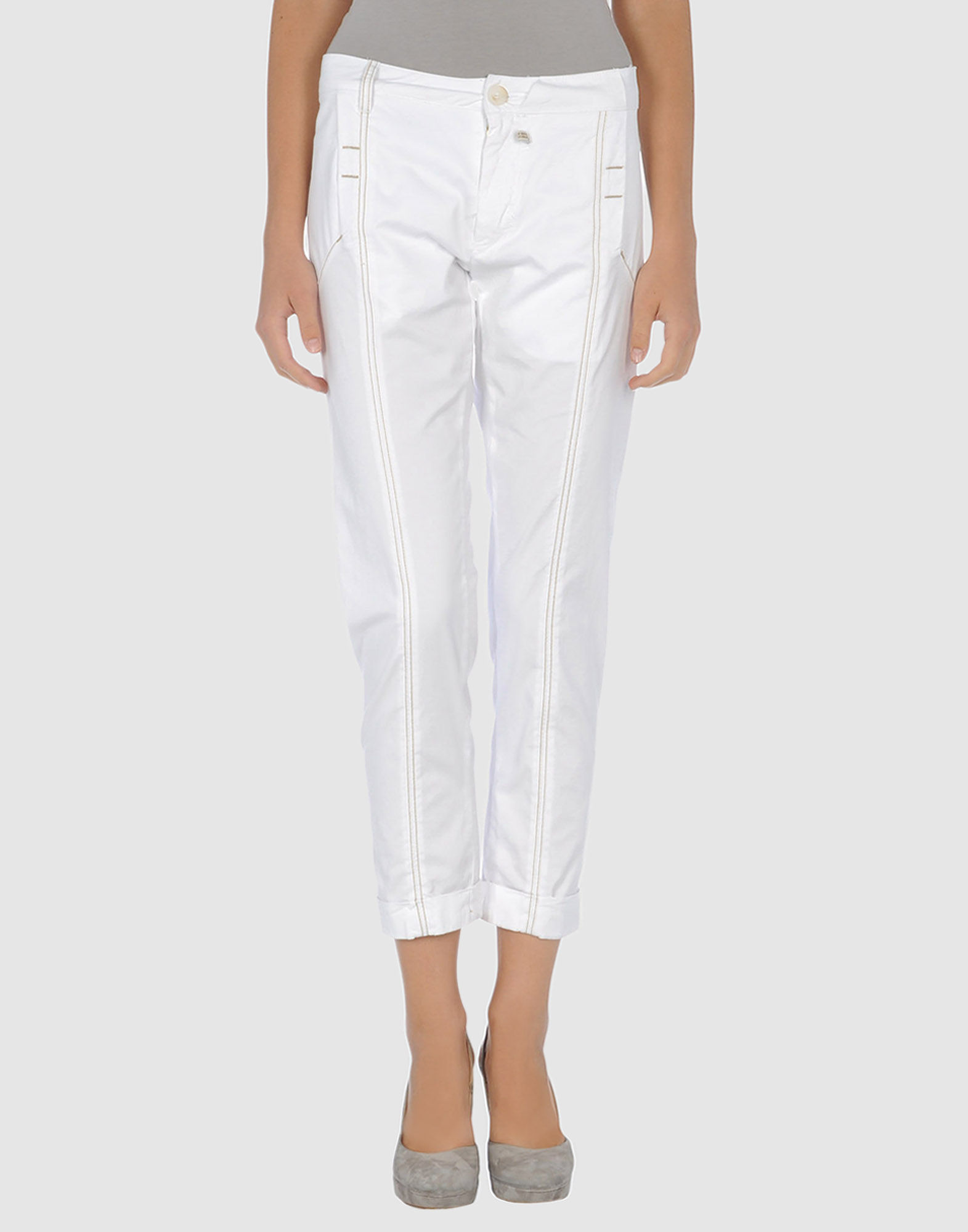 marith et fran ois girbaud 34length trousers in white lyst. Black Bedroom Furniture Sets. Home Design Ideas