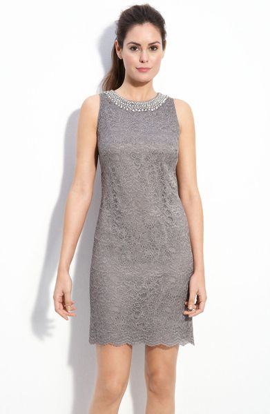 Maggy London Beaded Lace Shift Dress In Gray Grey Lyst