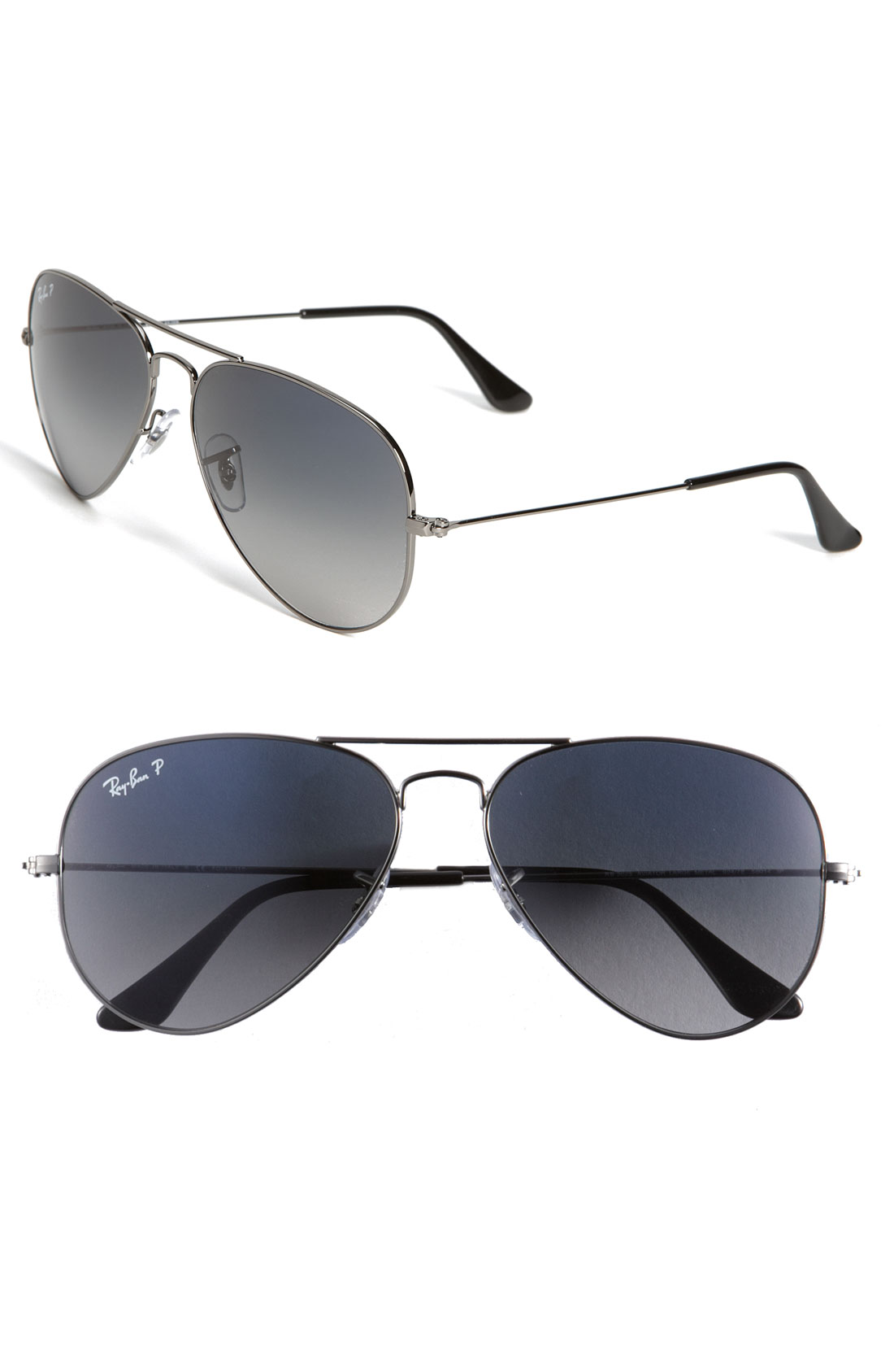 Ray ban polarized aviator sunglasses in gray grey blue for Ray ban aviator miroir homme