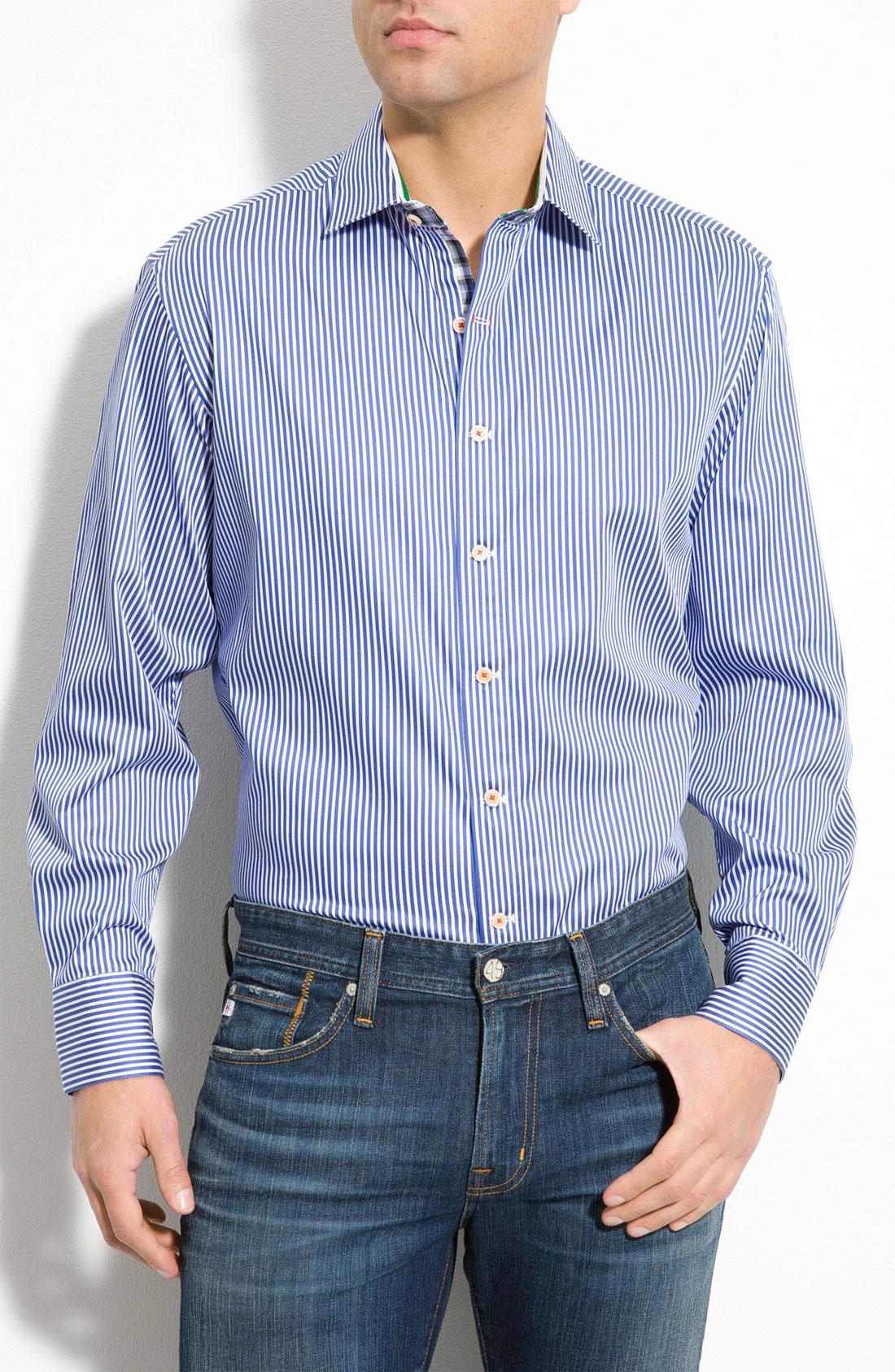 Robert graham stripe woven sport shirt in blue for men lyst for Robert graham sport shirt