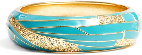 Sequin Medium Insect Wing Enamel Bangle in Blue (turquoise) - Lyst