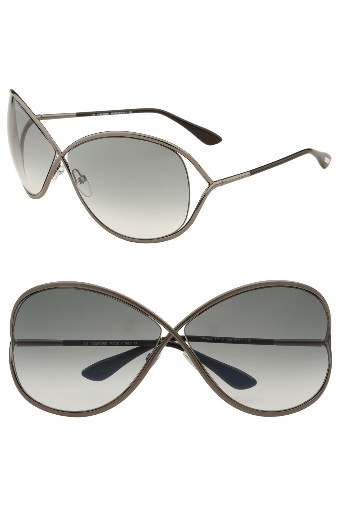 tom ford 39 miranda 39 68mm open temple metal sunglasses shiny gunmetal. Cars Review. Best American Auto & Cars Review