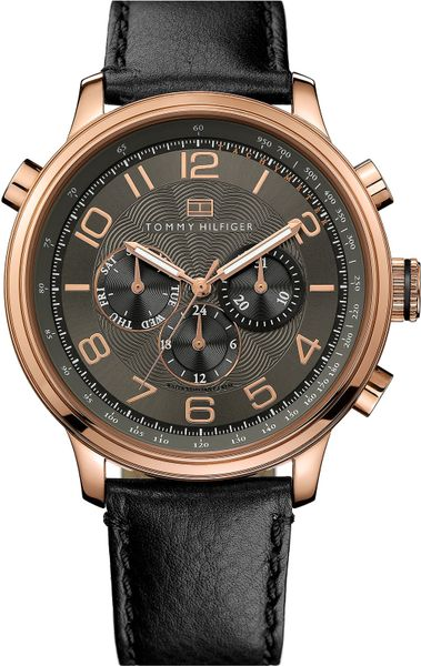 tommy hilfiger leather strap watch in pink for men rose gold black lyst. Black Bedroom Furniture Sets. Home Design Ideas