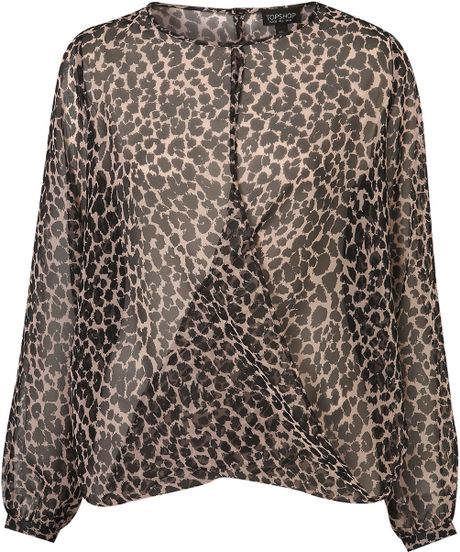 Topshop Animal Drape Front Blouse in Brown (animal print)
