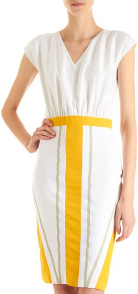 Fendi Panel Skirt Dress in Yellow (white)