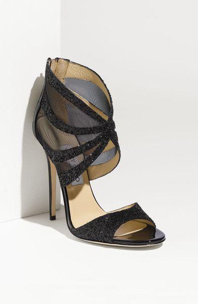 Jimmy Choo Leila Mesh Sandal in Black (black glitter)