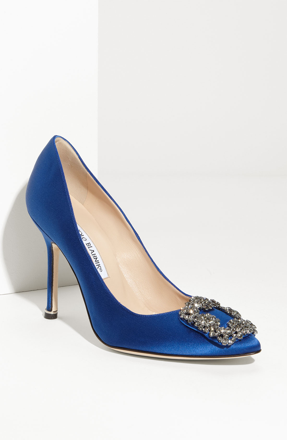 Manolo Blahnik Hangisi Jeweled Pump In Blue Blue Satin