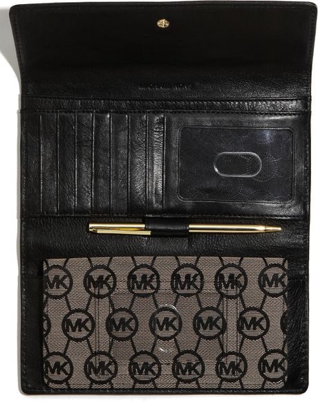Michael Michael Kors Jet Set Checkbook Wallet In Black
