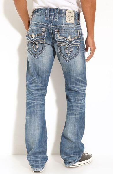 Rock Revival Wesley Straight Leg Jeans In Blue For Men (light Blue) | Lyst
