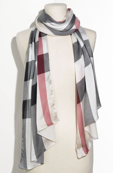 Burberry Check Print Silk Scarf in Multicolor  trench check Burberry Scarf Men Suit