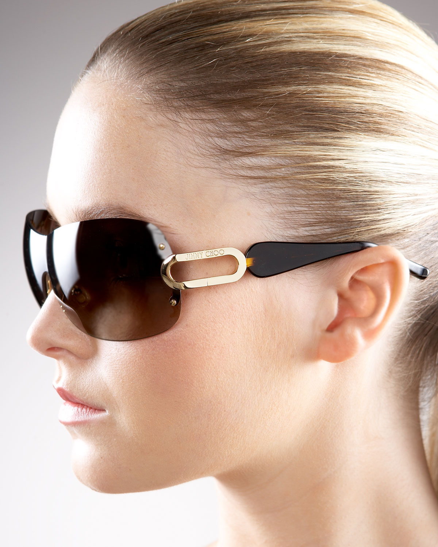 Jimmy Choo Mila Sunglasses  jimmy choo tee shield sunglasses in metallic lyst