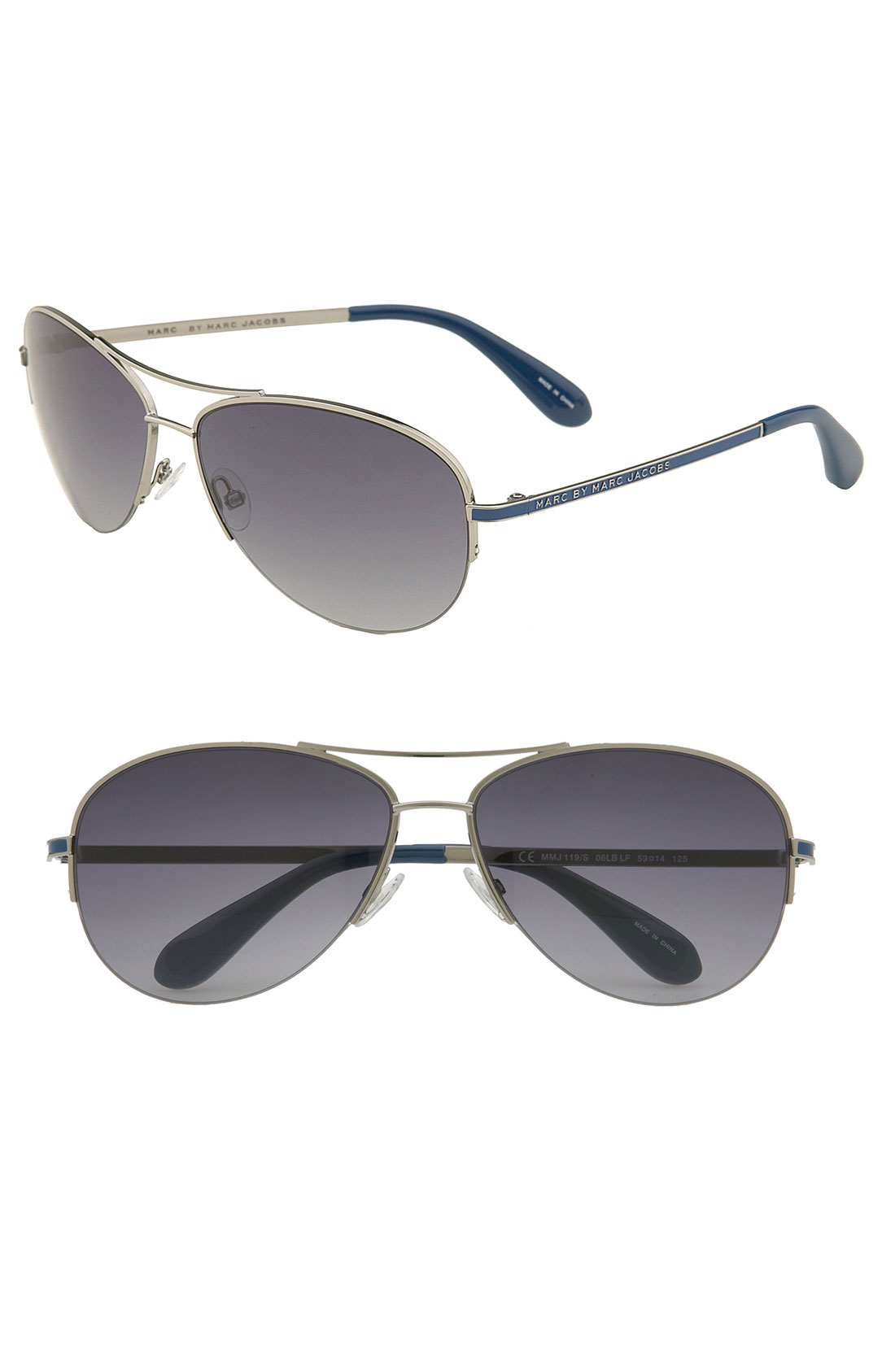 Rimless Aviator Sunglasses : Marc By Marc Jacobs Rimless Aviator Sunglasses in Blue Lyst