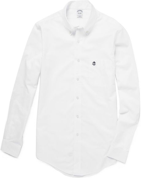Brooks brothers button down collar oxford shirt in white for White button down collar oxford shirt
