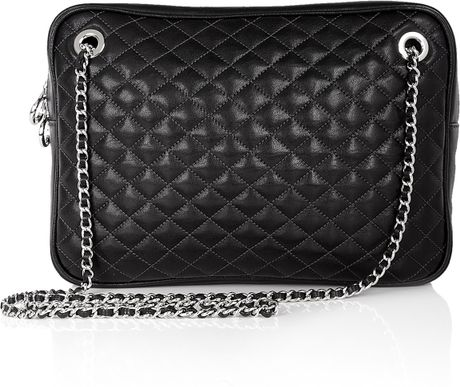 Black Lily Glam Quilted Zip Top Shoulder Bag By D&G 5