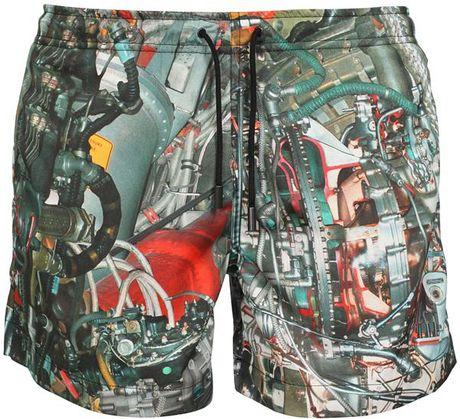 Christopher Kane Systems Print Swim Shorts in Multicolor for Men (multi)