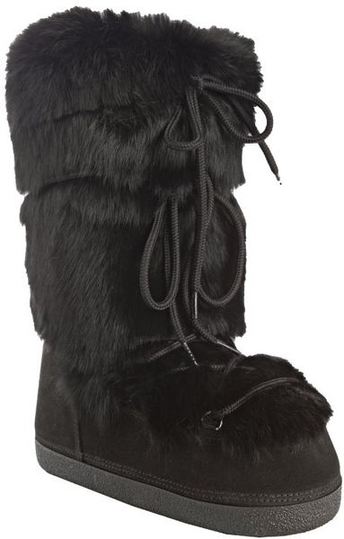 fendi black suede and rabbit fur st mortiz moon boots in