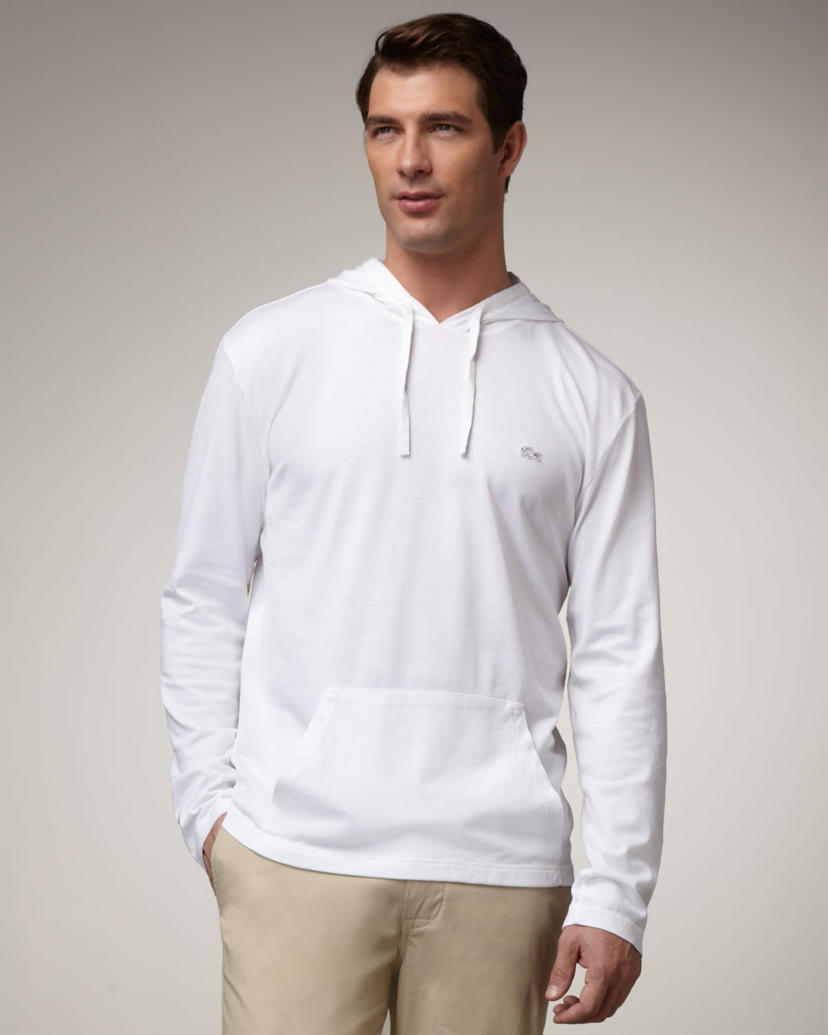 Lacoste Pullover Hoodie, White in White for Men | Lyst
